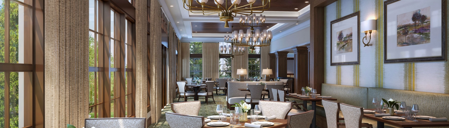 3D Architectural Renderings of Snellville Senior Living Dining Room for Senior Lifestyle Corporation