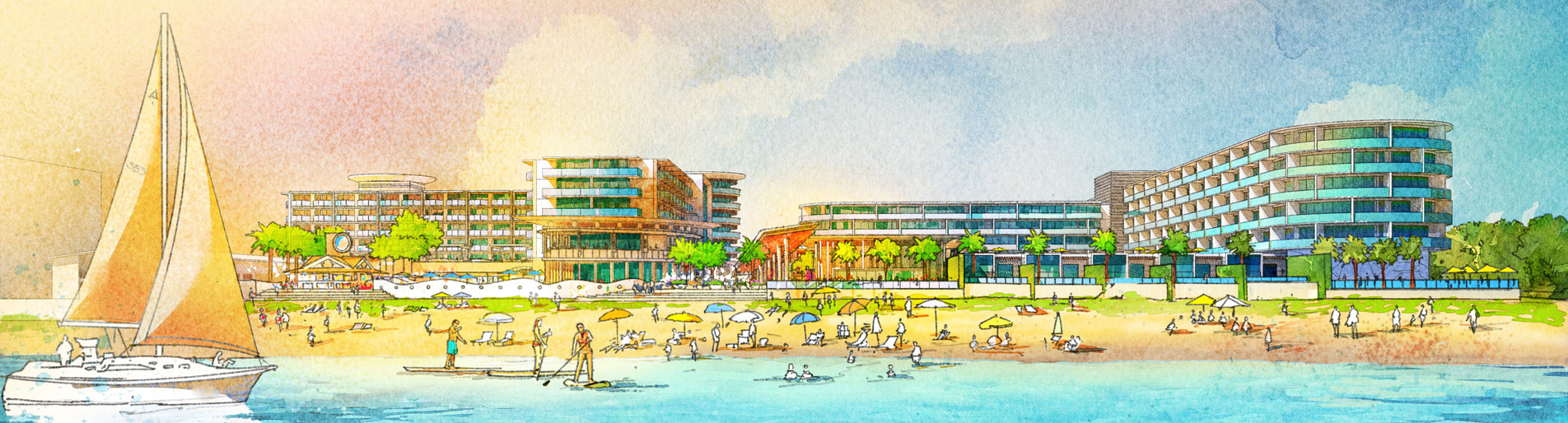 717179 Digital Watercolor Architectural Rendering of Cocoa Beach Hotel and Condo Waterfront for AECOM