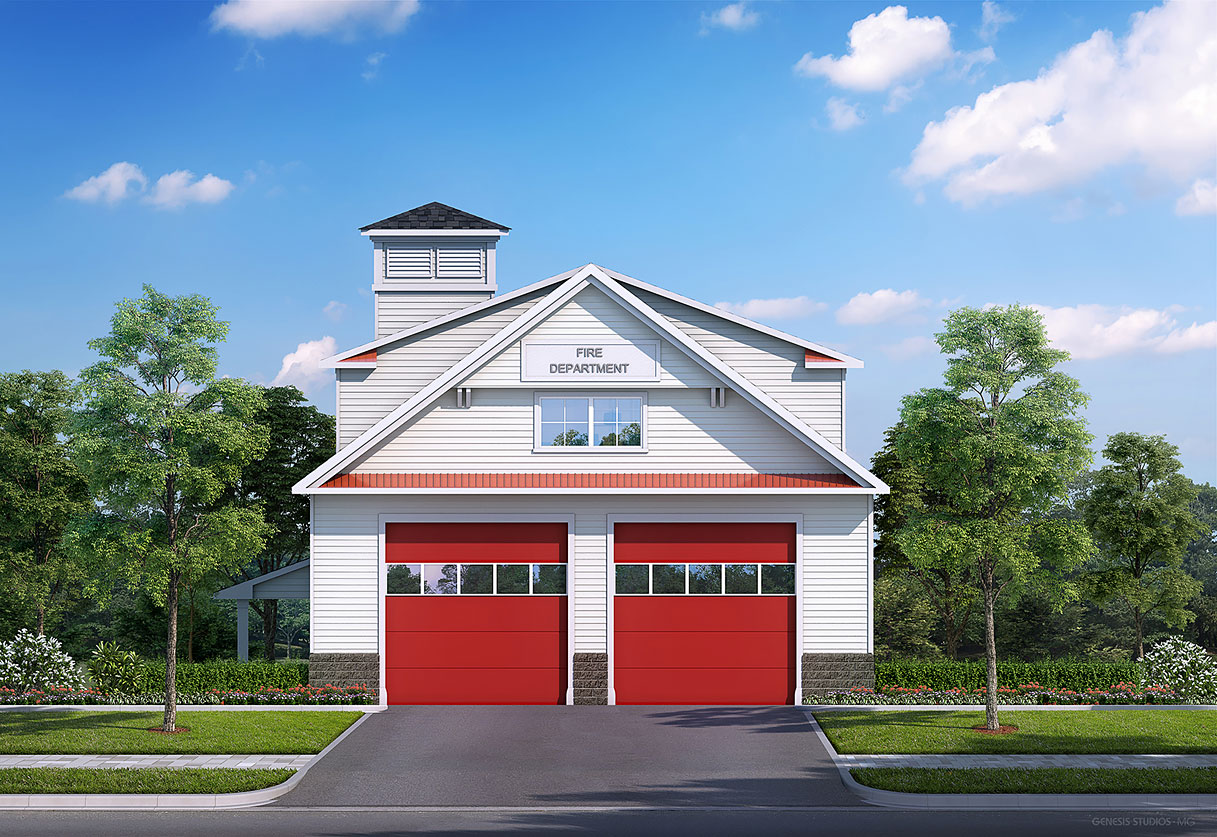 Digital Photorealistic Architectural Renderings of Westbrook Fire House Elevation for Greenview Properties