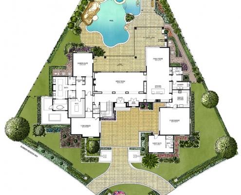 818023 Watercolor Floor Plan of Four Seasons Private Residences Lot 26 for Clayton Jones