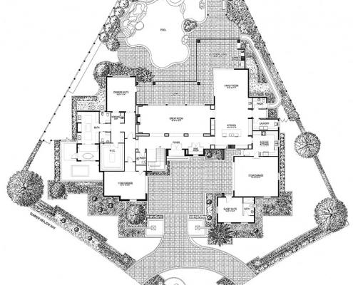 818023 Pen & Ink Floor Plan of Four Seasons Private Residences Lot 26 for Clayton Jones