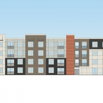 Digital Architectural Rendering of Multi Family Housing Elevation for Catalyst Development Partners