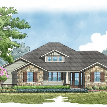 Digital Watercolor Architectural Render of Bighorn Single Family Home for Snow Construction