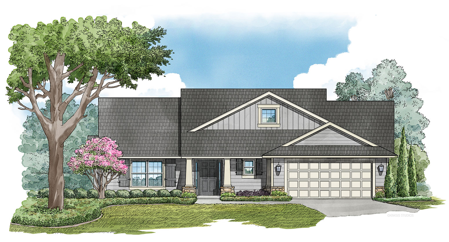 Digital Watercolor Architectural Illustration of Buckingham Single Family Home for Snow Construction