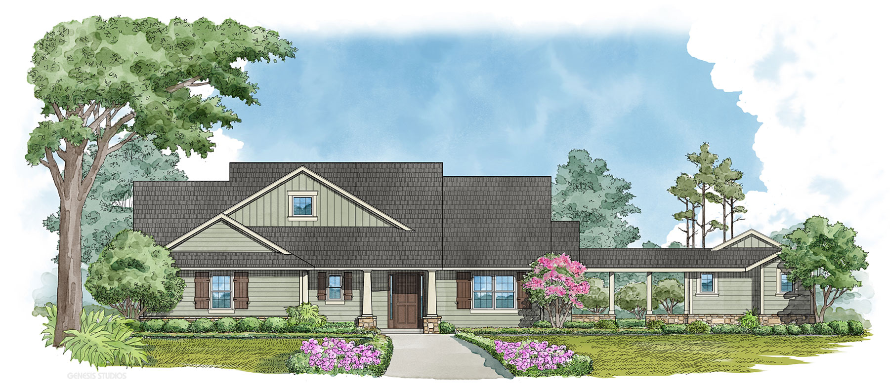 Digital Watercolor Architectural Illustration of Kudo Single Family Home for Snow Construction