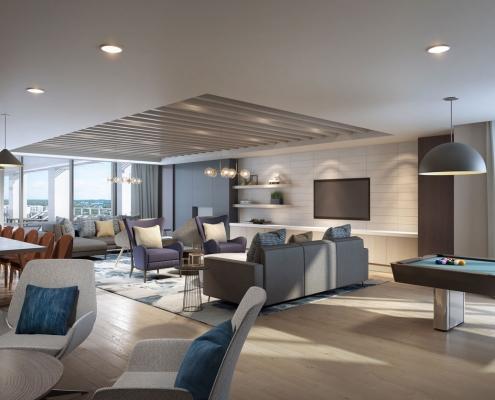 818300 Digital Photorealistic Architectural Renderings of Sedona Clubroom for MSA Interiors