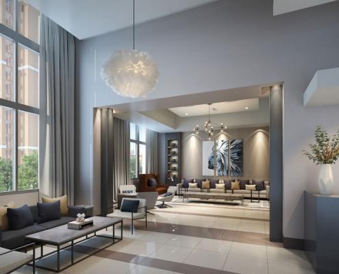 818300 Digital Photorealistic Architectural Renderings of Sedona Lobby for MSA Interiors