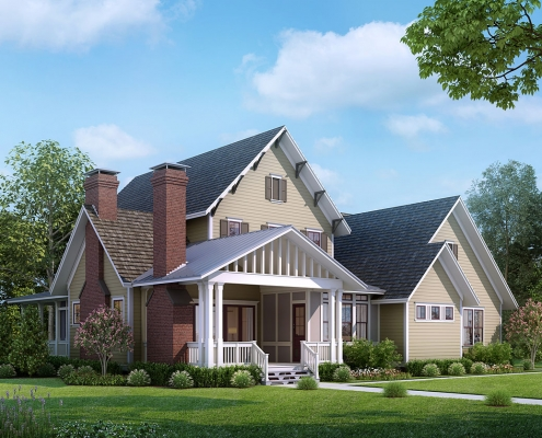 Digital Photorealistic Architectural Renderings of Single Family Home Front Yard for The Grove