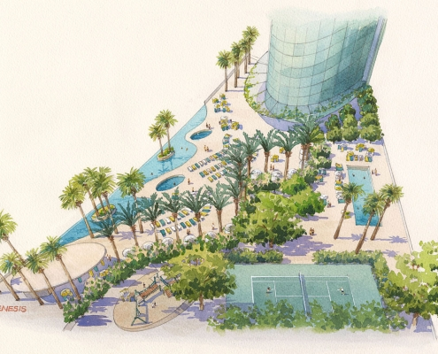 Loose Watercolor Architectural Rendering of The Gateway Towers from an Aerial View for Arquitectonica
