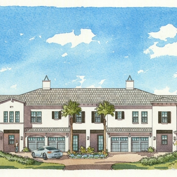 Watercolor Architectural Renderings of Curt Gaines Hall Jones Multi Family Housing Elevation