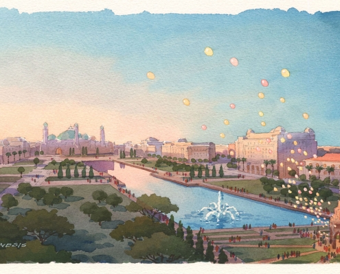 Loose Watercolor Architectural Rendering of Halal Park with a View of the Grand Mosque for Calthorpe