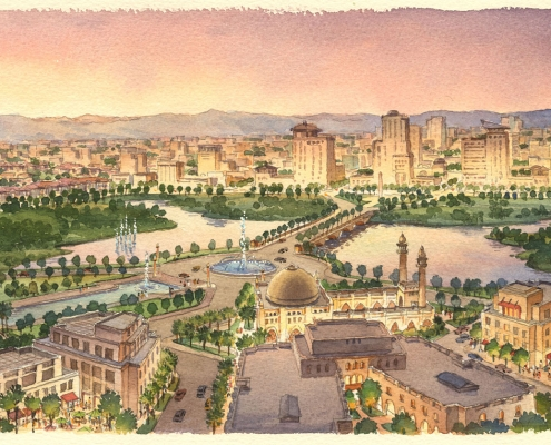 Loose Watercolor Architectural Rendering of Halal Park with a View of the Town Center for Calthorpe