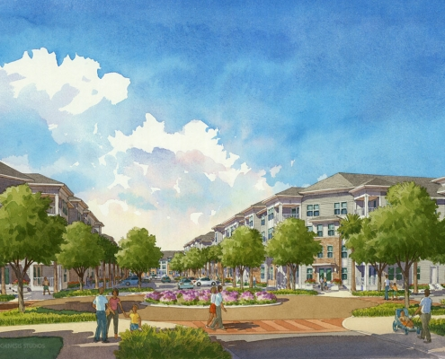 Watercolor Architectural Renderings of Mount Pleasant from a Street View for Charlan Brock Associates