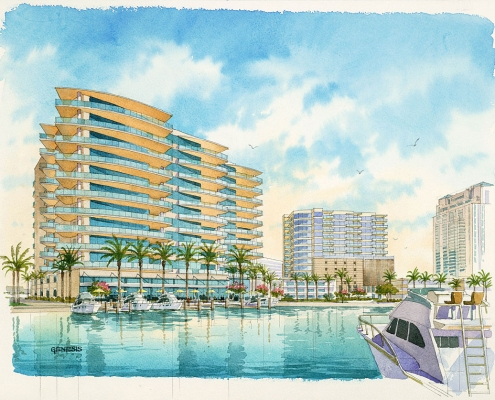 Loose Watercolor Architectural Rendering of Fort Lauderdale Condos From a View of the Marina for Forum Architecture