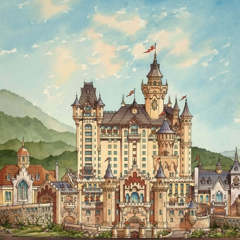 Watercolor Architectural Illustration of Sun Castle Elevation for HHCP