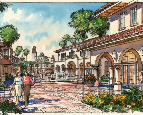 Loose Watercolor Rendering of Shopping Mall Entrance for HKS Architects