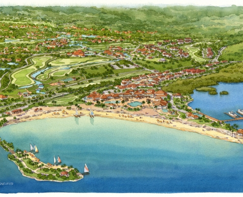 Conceptual Watercolor Rendering of Jamaica Hospitality Resort from an Aerial View for MODE Architects