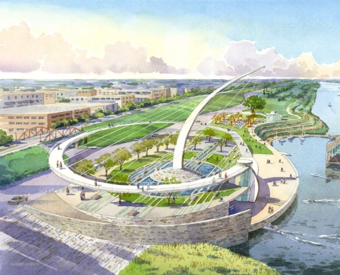 Loose Watercolor Rendering of the Memphis Riverfront from an Aerial View for Glatting Jackson