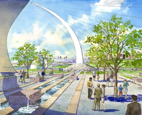 Loose Watercolor Rendering of the Memphis Riverfront Courtyard for Glatting Jackson