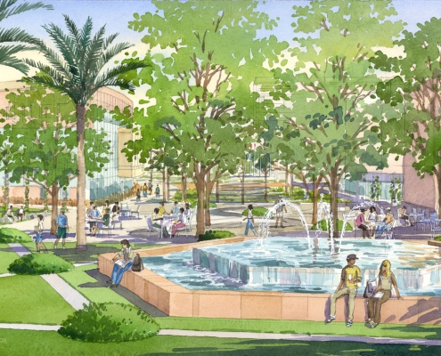 Loose Watercolor Architectural Illustration of UCF Academic Campus for Glatting Jackson