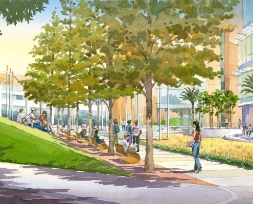 Hand Illustrated Architectural Rendering of UCF Academic Campus Plaza for Glatting Jackson