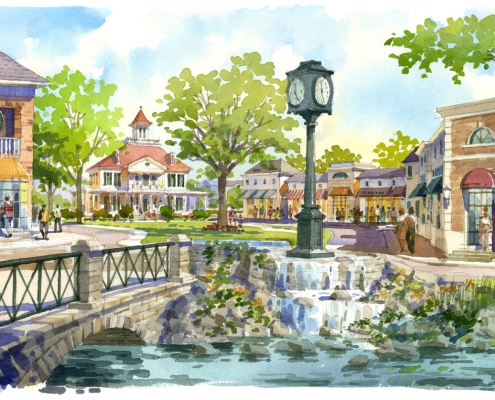 Hand Illustrated Watercolor Renderings of City of Groveland for Forum Architects