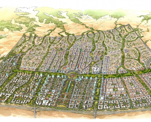 Conceptual Architectural Rendering of Al Waseel Multi Use City from an Aerial View for Calthorpe