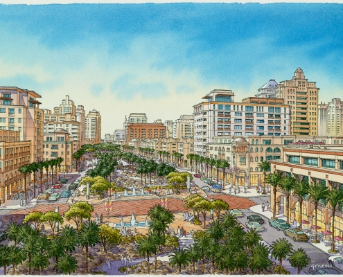 Conceptual Architectural Rendering of Al Waseel Multi Use City Town Center for Calthorpe