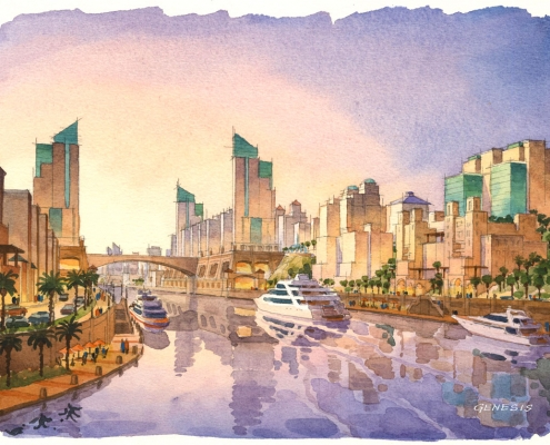 Loose Watercolor Architectural Rendering of Arabian Canal for Limitless