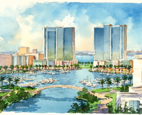 Loose Watercolor Architectural Illustration of the Central Marina of the Arabian Canal for CallisonRTKL