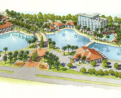 Hand Illustrated Watercolor Rendering of Stamatis Hotel and Resort for Miami Ocean Studios