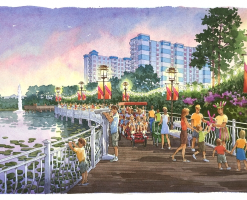 Hand Illustrated Watercolor Rendering of Oasis Lake for FKA Architects