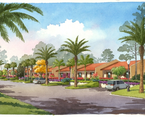 Hand Illustrated Loose Watercolor Rendering of Orange Lake Multi Family Housing Units for Agora Design