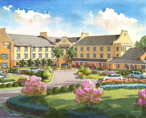 Hand Illustrated Loose Watercolor Rendering of Trinity Hospitality Hotel for Chancey Design