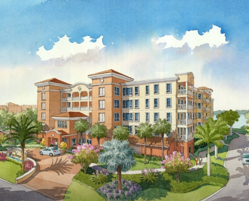 Loose Watercolor Architectural Rendering of Bay Breeze Hotel and Condos Exterior for Chancey Design