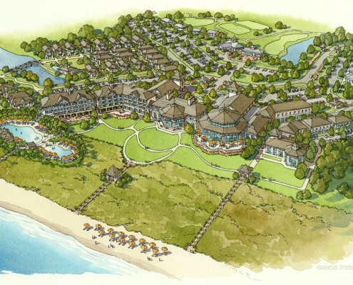 Conceptual Watercolor Rendering of Kaiwah Resort from an Aerial View for Cooper Carry