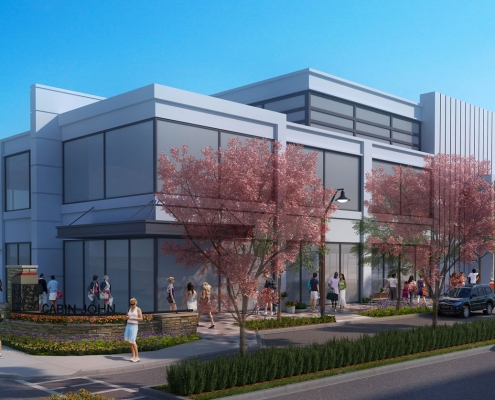 Conceptual Digital Architectural Renderings of Cabin John Commercial Building Front Entrance for The Eisen Group