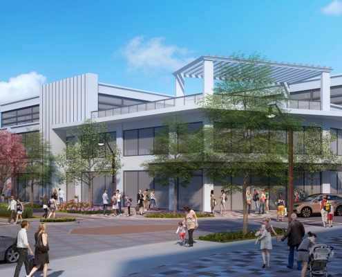 Conceptual Digital Architectural Renderings of Cabin John Commercial Building Side for The Eisen Group
