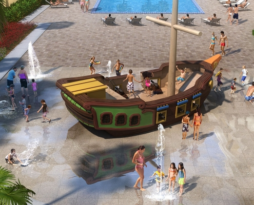 Digital Visualizaton Rendering of Splash Pad at Delta Orlando Hotel for JHM Hotels