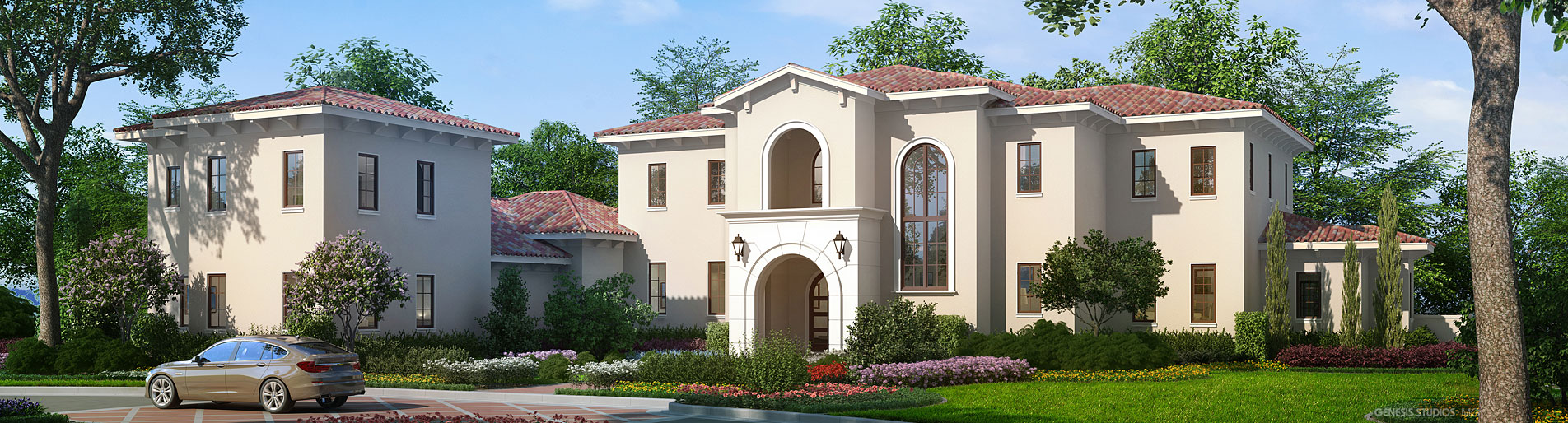 Digital Photorealistic Architectural Renderings of Lake Nona Lot 31 Single Familly Home for Cahil Homes