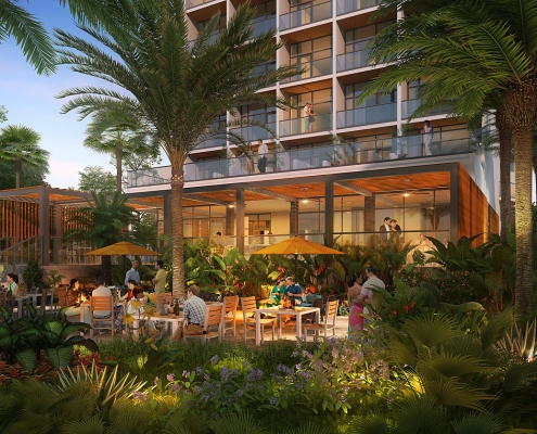 3-Dimensional Architectural Rendering of Acapulco Hotel Exterior Dining Area at Dusk for Delta Hotels