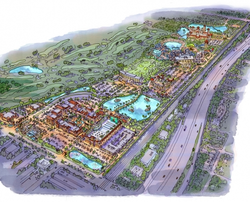 Loose Watercolor Rendering of Hollywood Gardens Mixed Use Complex from an Aerial View for Gardens Group Development