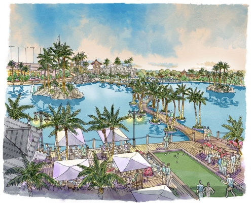 Loose Watercolor Rendering of Hollywood Gardens Lagoon for Gardens Group Development