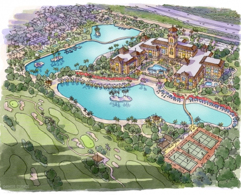 Loose Watercolor Rendering of Hollywood Gardens Pool for Gardens Group Development