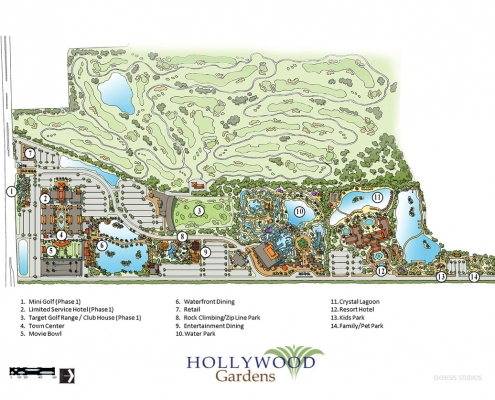 Loose Watercolor Rendering of Hollywood Gardens Map for Gardens Group Development