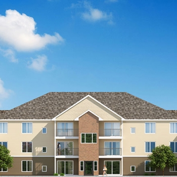 Digital 3D Architectural Rendering of a Multi Family Home Elevation for MRD Architectural Resources