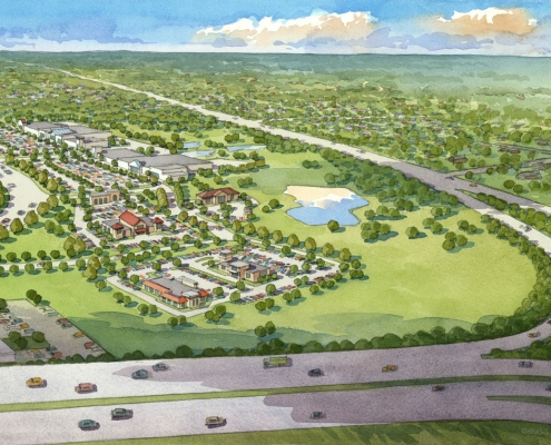 Loose Watercolor Architectural Illustration of Austin Ridge Multi Use Complex from an Aerial View for Van Metre