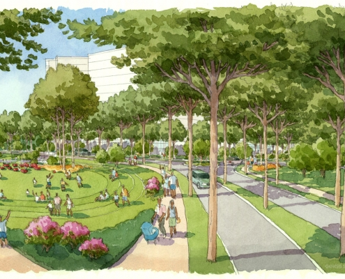 Hand Illustrated Architectural Rendering of Atlanta Public Park for HKS Architects