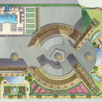 Watercolor Site Plan of Parisian for WESTAR Architectural Group
