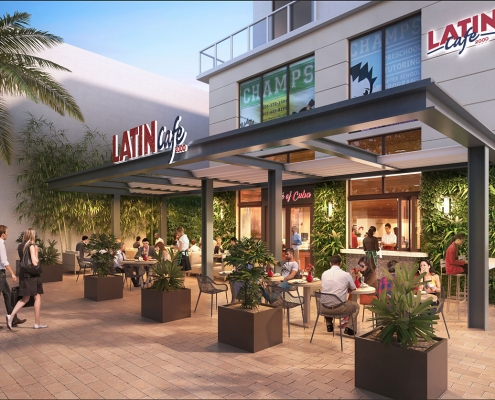 3D Photorealistic Architectural Rendeirng of Latin Cafe 2000 Exterior with People for The Architects Group TAG